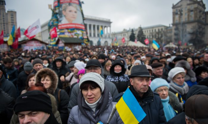 In demonstrations like this mass rally on Independence square in Kyiv, on Feb. 16, 2014, Ukrainians demonstrated a willingness to die for the chance for closer ties to the EU. Whether Ukraine will ever be allowed to join an EU that is growing skeptical of admitting new members remains to be seen. (Martin Bureau/AFP/Getty Images)
