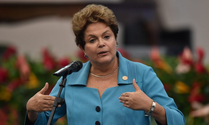 Brazilian President Dilma Rousseff delivers a speech during the 6th BRICS Summit in Fortaleza, Brazil, on July 15, 2014. (NELSON ALMEIDA/AFP/Getty Images)