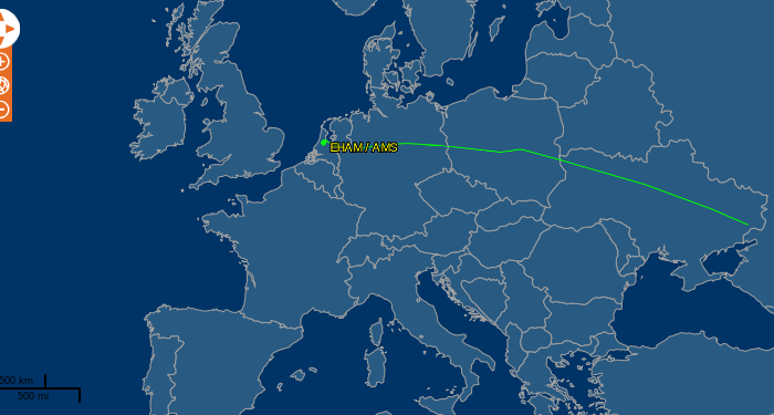 The flight path of Malaysia Airlines Flight MH17 before it was shot down over Ukraine. (FlightAware)