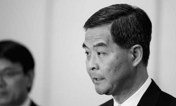 Hong Kong Chief Executive Leung Chun-ying is pictured on Oct. 6, 2013. Rumors are swirling in Hong Kong that Lueng will soon be fired or arrested. (Putu Sayoga/Getty Images)