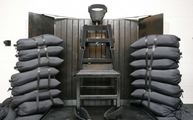 In this June 18, 2010, file photo, the firing squad execution chamber at the Utah State Prison in Draper, Utah, is shown.  (Trent Nelson/AP)