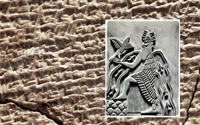 A depiction of the Sumerian god Enki and a Sumerian tablet (background) from the 21st century B.C. with a hymn inscribed on it. (Wikimedia Commons)