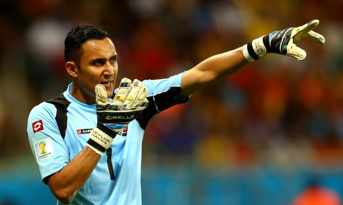 Goalkeeper Keylor Navas of Costa Rica gestures during the 2014 FIFA World Cup Brazil Quarter Final match between the Netherlands and Costa Rica at Arena Fonte Nova on July 5, 2014 in Salvador, Brazil. (Photo by Michael Steele/Getty Images)
