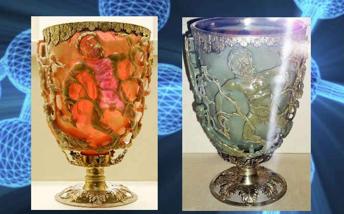 The Lycurgus Cup, at the British Museum. (Wikimedia Commons; Background concept image of nanotechnology via Thinkstock)