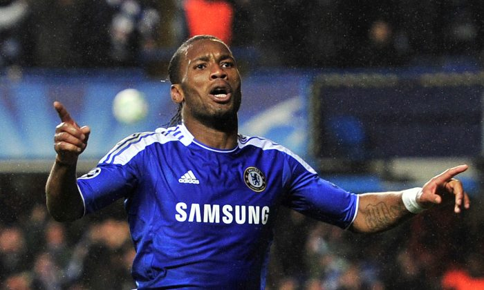 Chelsea's Ivorian forward Didier Drogba celebrates after scoring a goal during the UEFA Champions League semi-final first leg football match between Chelsea and Barcelona at Stamford Bridge in London on April 18, 2012. (GLYN KIRK/AFP/Getty Images)