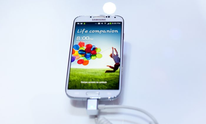 The Samsung Galaxy S IV on display March 14, 2013 in New York City. (Allison Joyce/Getty Images)