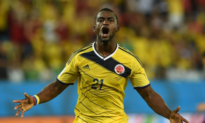 Colombia's forward Jackson Martinez celebrates after socring his second goal during the Group C football match between Japan and Colombia at the Pantanal Arena in Cuiaba during the 2014 FIFA World Cup on June 24, 2014. (TOSHIFUMI KITAMURA/AFP/Getty Images)