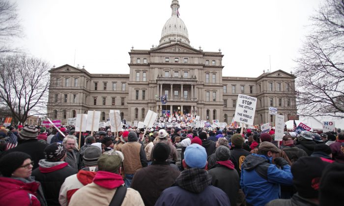 A rally at the Michigan state Capitol in Lansing, Mich., on Dec. 11, 2012. (Bill Pugliano/Getty Images)
