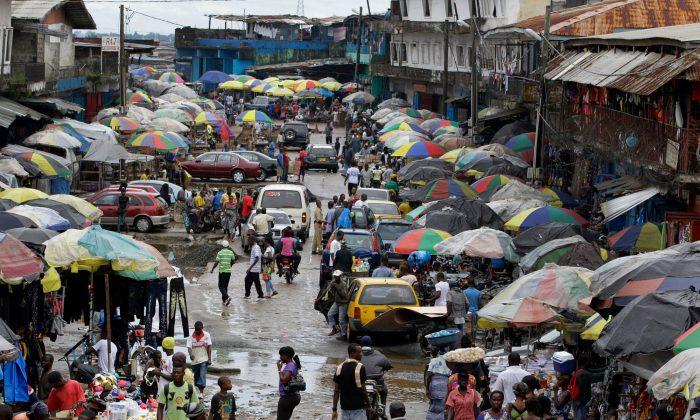 A street market in Monrovia, Liberia.