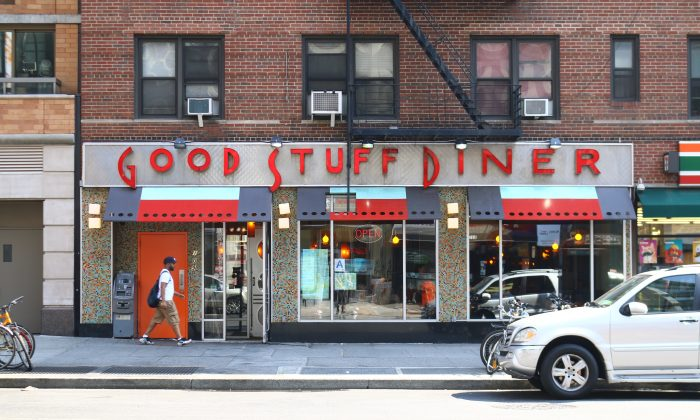 The outside of Good Stuff Diner in Chelsea, Manhattan, July 2. A confrontation occurred between two groups in the diner at 5 a.m. One man was shot in the chest. (Brendon Fallon/Epoch Times)
