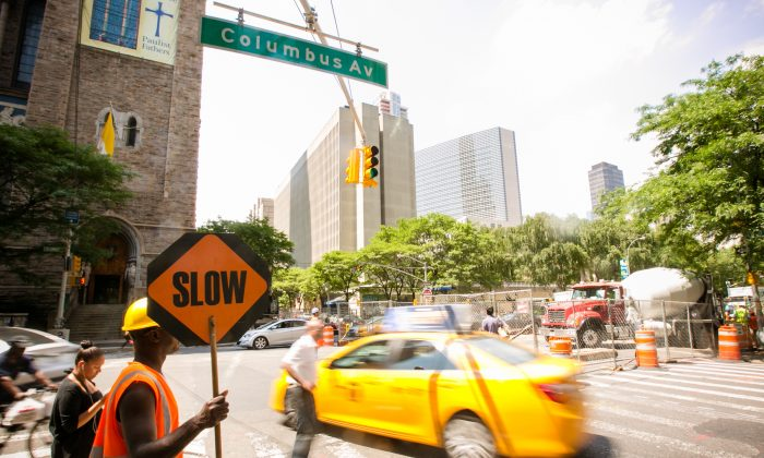 The intersection on Columbus Avenue where Cathy Lord was ran over by a taxi, in Manhattan, on July 1, 2014. (Edward Dai/Epoch Times)