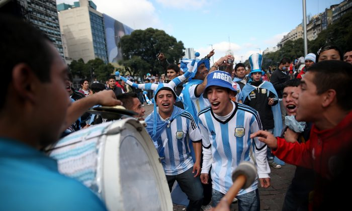 Argentinian supporters of the national soccer team in Buenos Aires. They celebrated their team's great effort in World Cup 2014.