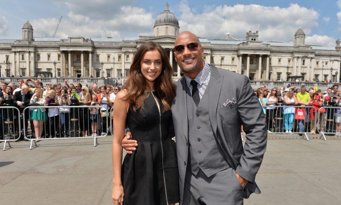(L-R) Actors Irina Shayk and Dwayne Johnson attend the photocall for 'Hercules' at Trafalgar Square on July 2, 2014 in London, England. (Photo by Anthony Harvey/Getty Images for Paramount Pictures International)