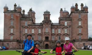 Cycling Around Drumlanrig Castle and Country Estate Near Thornhill, Dumfriesshire, Scotland, UK