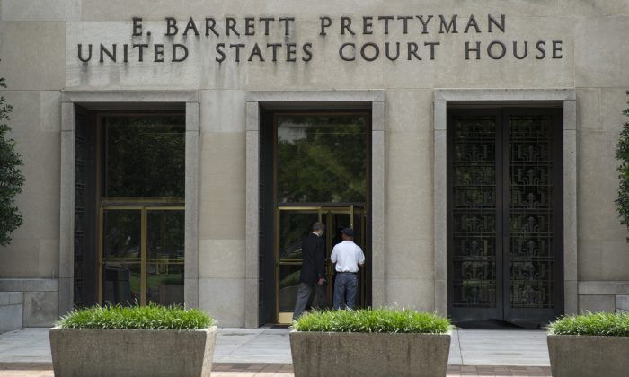 A view of the E. Barrett Prettyman Federal Courthouse that houses the US Court of Appeals for the DC Circuit, on Tuesday, July 22, 2014, in Washington. (AP Photo/ Evan Vucci)