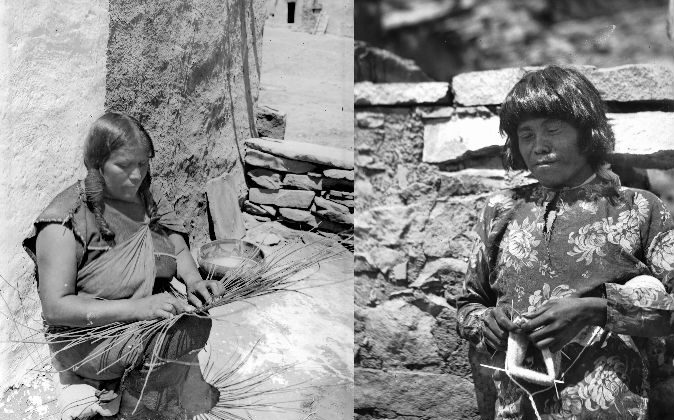 Photos of Hopi Native Americans, one weaving a basket, the other knitting a stocking, ca. 1900 and 1901 respectively. (Charles C. Pierce via Wikimedia Commons)