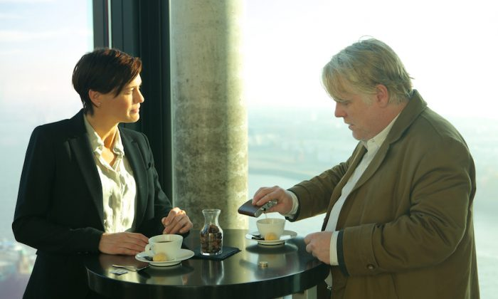 "Robin Wright as a CIA agent and Philip Seymour Hoffman as a German intelligence officer in ""A Most Wanted Man."" (Roadside Attractions)"
