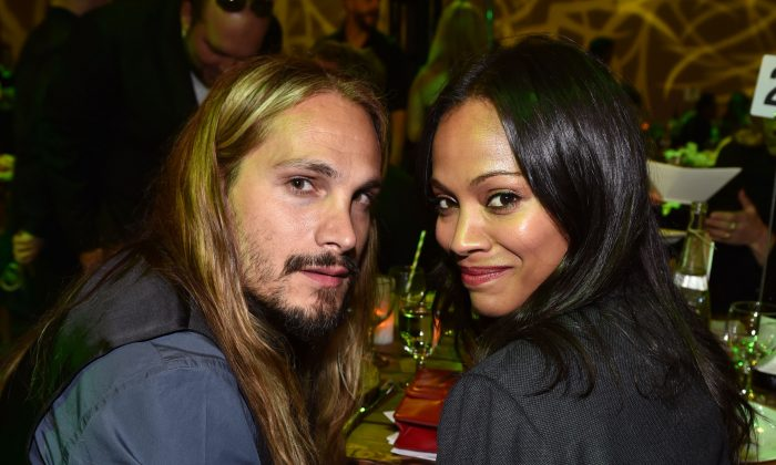 Marco Perego, left, and Zoe Saldana are seen at Grades of Green Verte 2014 at MBS Media Campus on Friday, June 6, 2014, in Manhattan Beach, Calif. (Photo by John Shearer/Invision for MBS Media Campus/AP Images)