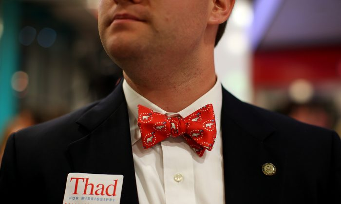 A supporter of U.S. Sen. Thad Cochran (R-Miss.), who edged challenger State Sen. Chris McDaniel in the Republican primary, in Jackson, Miss., on June 24, 2014. (Justin Sullivan/Getty Images)