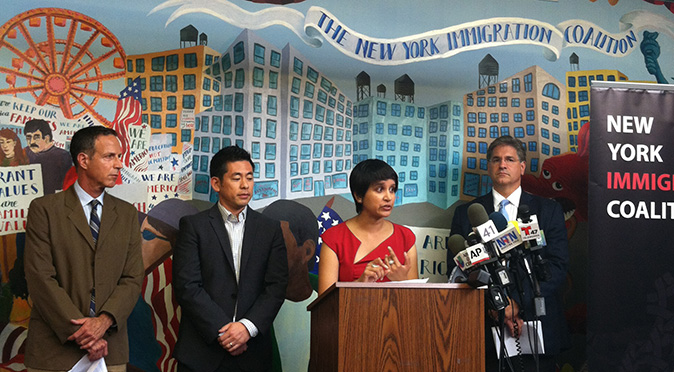(L-R) Dr. Alan Shapiro, co-founder of Terra Firma, Steven Choi, executive director of NYIC, Commissioner Nisha Agarwal, Mario Russel, director and senior attorney in the Division of Immigrant and Refugee at Catholic Charities, NY, at the New York Immigration Coalition office in Midtown West, New York, July 23, 2014. (Amelia Pang/Epoch Times)