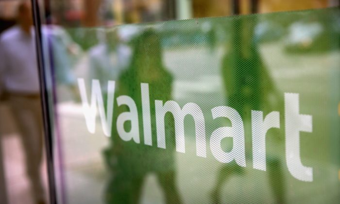 The Walmart logo in a store in Chicago, Illinois, on Aug. 15, 2013. Walmart in the world's largest retailer. (Scott Olson/Getty Images)