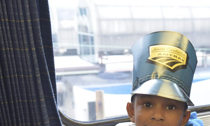 A guest at Amtrak's National Train Day at Union Station in Washington, D.C., May 10. (Kris Connor/Getty Images for Amtrak)