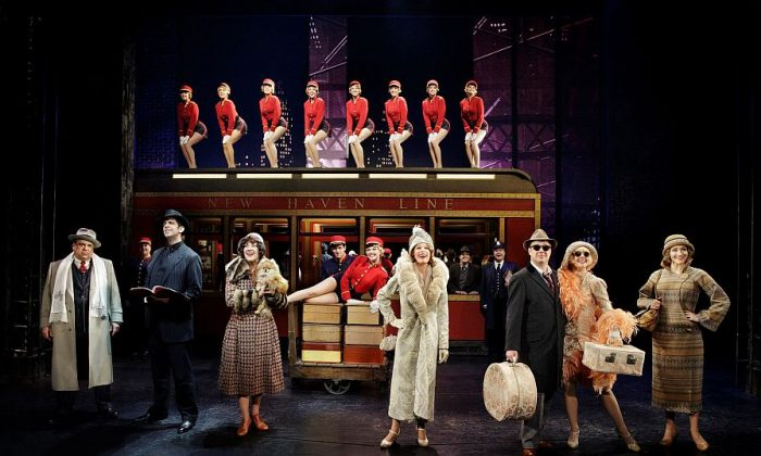 """The cast of """"Bullets Over Broadway,"""" in which gangsters and Broadway stars cavort. (L–R in foreground) Gangster Nick Valenti (Vincent Pastore), his goon-turned-ghostwriter Cheech (Nick Cordero), actress in the show Eden Brent (Karen Ziemba), the aging diva Helen Sinclair (Marin Mazzie), the leading man Warner Purcell (Brooks Ashmanskas), the gangster's less-than-talented girlfriend Olive (Heléne Yorke), and the playwright's girlfriend Ellen (Betsy Wolfe). (Paul Kolnik)"""