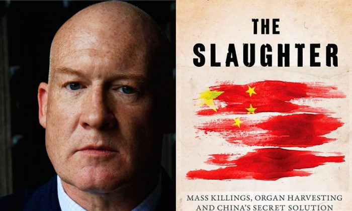 "(L-R) Ethan Gutmann and his book, ""The Slaughter,"" which provides critical evidence about organ harvesting.  (EndOrganPillaging.org)"