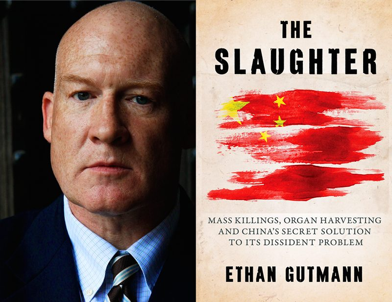 "Ethan Gutmann and his new book, ""The Slaughter,"" which offers ""smoking gun"" testimony providing critical evidence about organ harvesting. (EndOrganPillaging.org)"