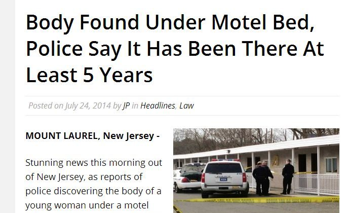 """An article saying a body was discovered under a motel bed in Mount Laurel, New Jersey, that's been there """"at least five years"""" is fake. (Screenshot)"""