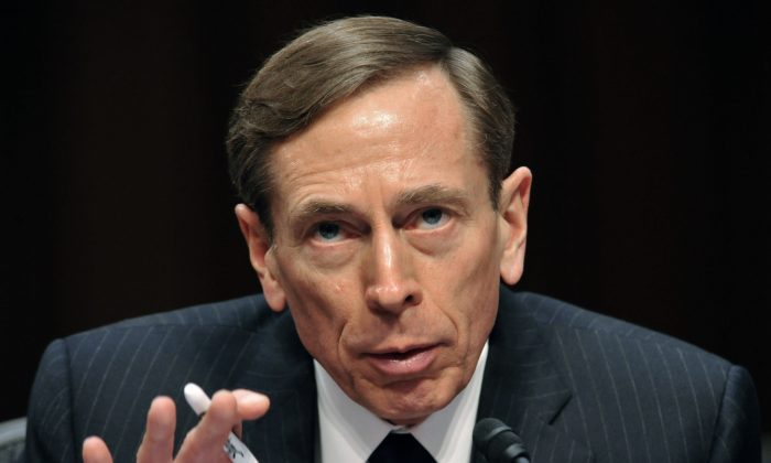 """CIA Director David Petraeus, testifies before the US Senate Intelligence Committee during a full committee hearing on """"World Wide Threats."""" (Karen Bleier/AFP/Getty Images)"""