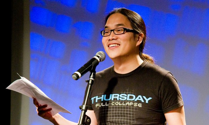 Poet Justin Woo, associate producer of Poetic People Power, recites a poem during its 2012 show. (Leah Rae Photography)