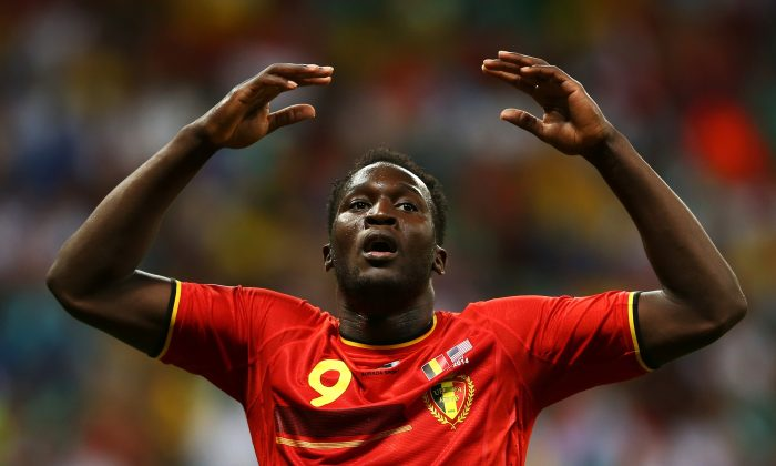 Romelu Lukaku of Belgium reacts during the 2014 FIFA World Cup Brazil Round of 16 match between Belgium and the United States at Arena Fonte Nova on July 1, 2014 in Salvador, Brazil. (Photo by Michael Steele/Getty Images)