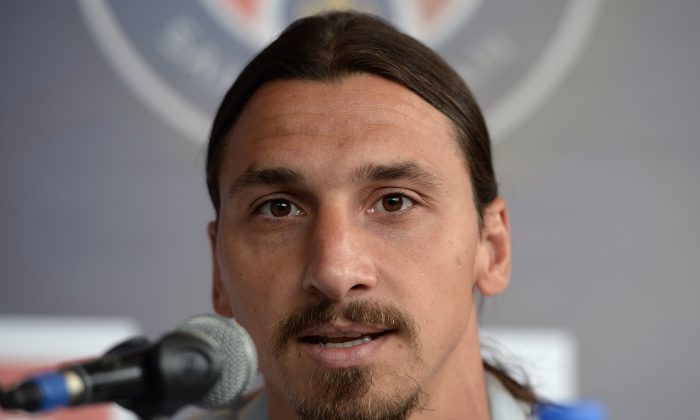 Paris Saint-Germain's captain Zlatan Ibrahimovic speaks during a press conference in Hong Kong on July 26, 2014 ahead of a friendly football match against local club Kitchee on July 29. (DALE de la REY/AFP/Getty Images)