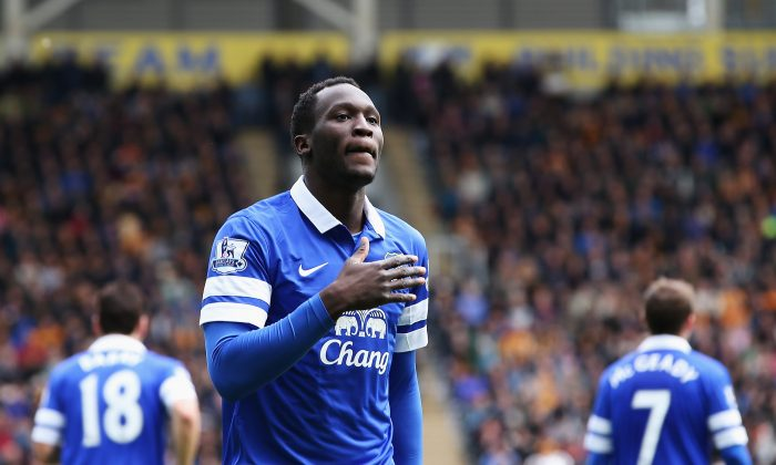 Romelu Lukaku of Everton celebrates his goal during the Barclays Premier League match between Hull City and Everton at KC Stadium on May 11, 2014 in Hull, England. (Photo by Jan Kruger/Getty Images)