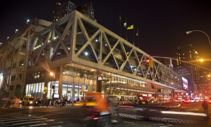 The 64-year-old Port Authority bus terminal used by both commuters from New Jersey and travelers from the rest of the country has received millions in funding for new repairs, New York, Friday, July 25, 2014. (AP Photo/Bebeto Matthews)