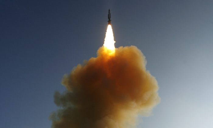The U.S. Navy launches a Standard Missile-3 over the Pacific Ocean on Feb. 20, 2008. (U.S. Navy via Getty Images)