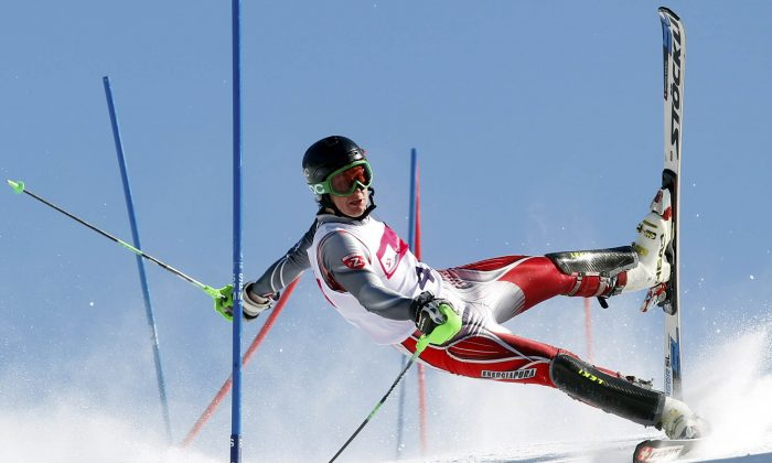 """Slalom Action"" by Polish photographer Andrzej Grygiel (PAP-Polska Agencja Prasowa) won second prize in the Sports Action Singles category. (Courtesy World Press Photo)"