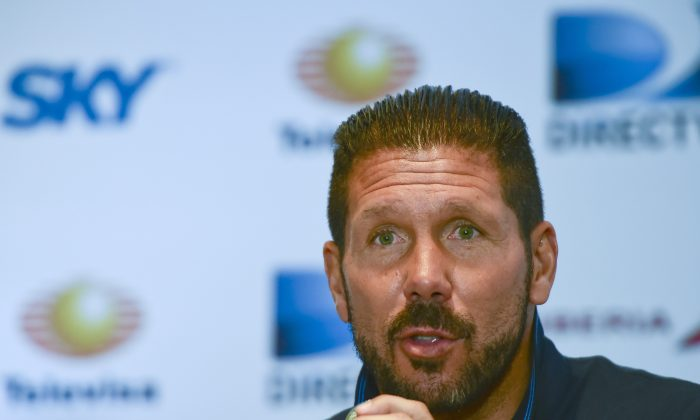 Atletico de Madrid's coach Diego Simeone speaks during a press conference in Mexico City, on July 29 2014. The Atletico de Madrid is in Mexico for a match against America of Mexico next July 30, in the framework of the Copa Euroamericana. (RONALDO SCHEMIDT/AFP/Getty Images)