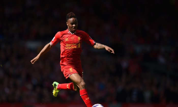 Raheem Sterling of Liverpool in action during the Barclays Premier League match between Liverpool and Newcastle United at Anfield on May 11, 2014 in Liverpool, England. (Photo by Laurence Griffiths/Getty Images)