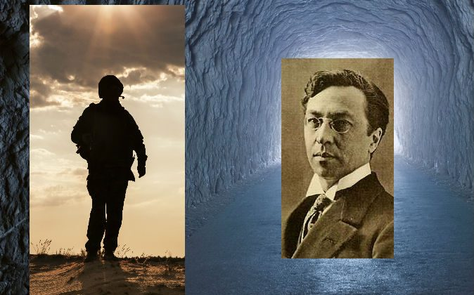 Right: Russian painter Vassily Kandinsky (1866–1944). (Wikimedia Commons) Image of a soldier's silhouette via Thinkstock and image of a tunnel via Shutterstock*