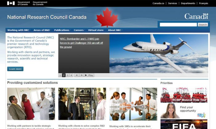 The website of the National Research Council Canada. (Screenshot/www.nrc-cnrc.gc.ca)