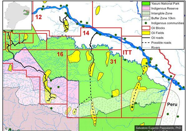 Map of oil blocks within Yasuni National Park. Image courtesy of Finer, Pappalardo, Ferrarese, De Marchi (2014).