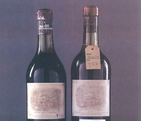 An exhibit from the William I. Koch Wine Authentication Report, Aug. 28, 2009, showing a 1799 Château Lafite bottle (L), concluded as counterfeit. On the right, an1800 Lafite for comparison.   (Koch v. Greenberg Public Record)