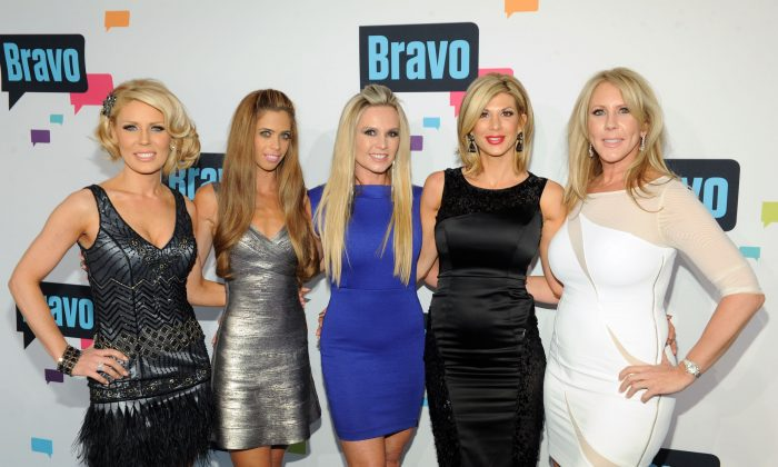(L-R) Gretchen Rossi, Lydia McLaughlin, Tamra Barney, Alexis Bellino, and Vicki Gunvalson of 'The Real Housewives of Orange County' attend the 2013 Bravo New York Upfront at Pillars 37 Studios on April 3, 2013 in New York City. (Craig Barritt/Getty Images)