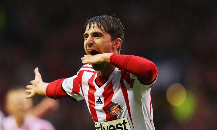 Fabio Borini of Sunderland celebrates as he scores their second goal during the Barclays Premier League match between Sunderland and West Bromwich Albion at Stadium of Light on May 7, 2014 in Sunderland, England. (Photo by Alex Livesey/Getty Images)