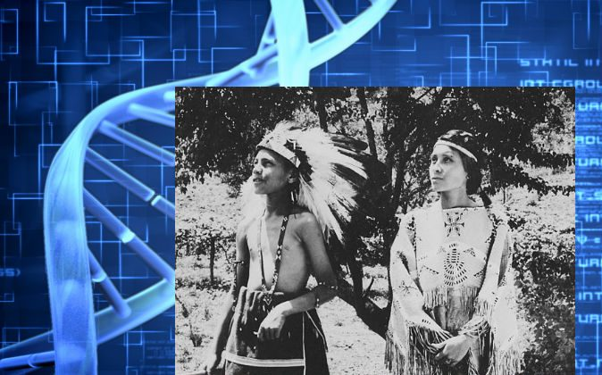 A Cherokee boy and girl stand in costume on a North Carolina reservation in 1939. (Wikimedia Commons, background image of DNA via Thinkstock)
