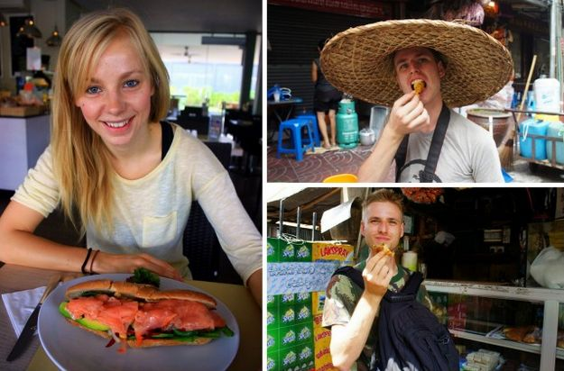 Having a salmon baguette in Bali while Cez is enjoying samosas in Sri Lanka and Thai spring rolls in Bangkok (eTramping.com)