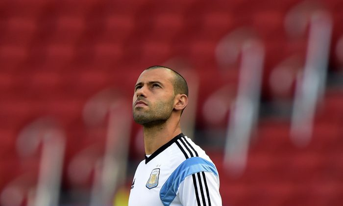 Argentina's midfielder Javier Mascherano takes part in a training session at Beira-Rio Stadium in Porto Alegre, on June 24, 2014, ahead their 2014 FIFA World Cup Group F match against Nigeria. (JUAN MABROMATA/AFP/Getty Images)