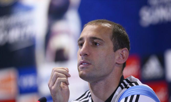 Pablo Zabaleta of Argentina during a press conference at Cidade do Galo on June 27, 2014 in Vespasiano, Brazil. (Ronald Martinez/Getty Images)